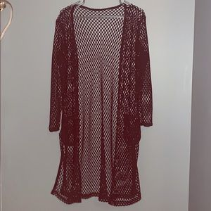 One of a kind fishnet cardigan